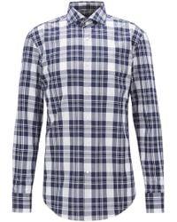 BOSS - Italian-made Shirt In Cotton Poplin With Glen Check - Lyst