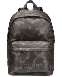 HUGO - Camouflage-print Backpack In Nylon Gabardine - Lyst