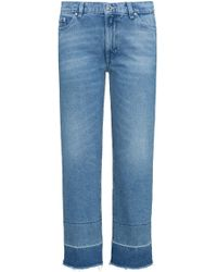 HUGO - Slim-fit Cropped Jeans In Stonewashed Denim - Lyst