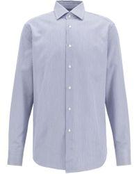 BOSS - Tailored Regular-fit Shirt In Striped Italian Cotton Twill - Lyst