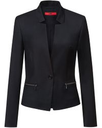 HUGO - Regular-fit Wool Jacket With Reverse Lapels - Lyst