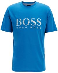 a18ebec72 BOSS Slim-fit Printed T-shirt In Pima Cotton in Blue for Men - Lyst