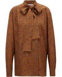 BOSS Relaxed-fit Dot-print Blouse In Silk With Bow Neckline