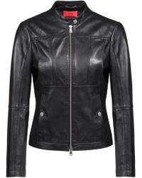 HUGO - Lambskin Biker Jacket With Perforated Panels - Lyst
