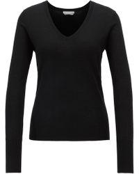 BOSS - V-neck Sweater In Knitted Virgin Wool - Lyst