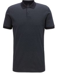 35f7e2ed8 BOSS - Slim-fit Polo Shirt In Micro-patterned Mercerized Cotton - Lyst