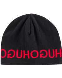 HUGO - Knitted Beanie Hat With Repeated Reverse Logo - Lyst