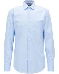 BOSS - Slim-fit Shirt In Micro-structured Dobby Cotton - Lyst