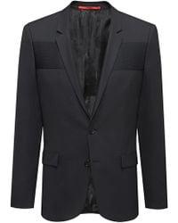 HUGO - Extra-slim-fit Virgin-wool Blazer With Ottoman Paneling - Lyst