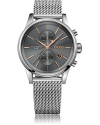 BOSS - Polished Stainless-steel Chronograph Watch With Grey Dial And Mesh Bracelet - Lyst