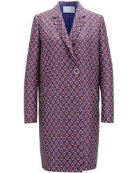 BOSS - Relaxed-fit Coat With All-over Scarf-inspired Print - Lyst