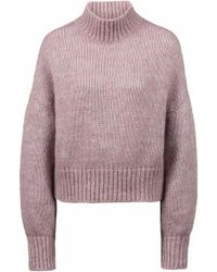 HUGO - Cropped Sweater In Knitted Fabric With Balloon Sleeves - Lyst