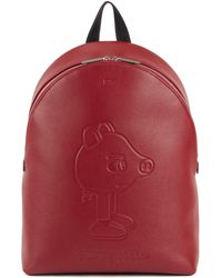 BOSS - Limited-edition Italian-leather Backpack With Printed Jeremyville Pig - Lyst