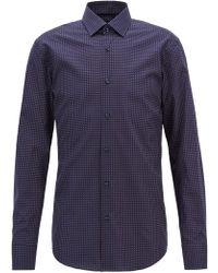 BOSS - Slim-fit Shirt In Geometric-print Italian Cotton - Lyst