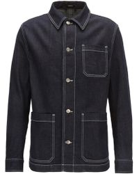 BOSS - Stretch-denim Jacket With Kent Collar - Lyst