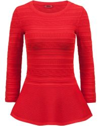 HUGO - Peplum Sweater In Super-stretch Yarn - Lyst