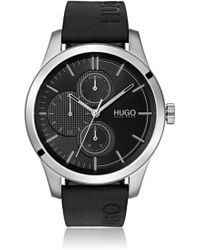 HUGO - Logo-strap Watch With Mixed Dial Textures - Lyst