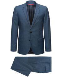 HUGO - Slim-fit Suit In Micro-pattern Virgin Wool - Lyst