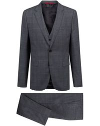 HUGO - Extra-slim-fit Three-piece Suit In Checked Virgin Wool - Lyst