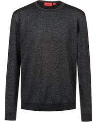 HUGO - Wool-blend Knitted Jumper With Subtle Shine - Lyst