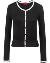 HUGO - Crew-neck Cardigan In Blended Yarn With Contrast Piping - Lyst