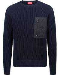 HUGO - Military-inspired Ribbed Jumper With Patch Pocket - Lyst
