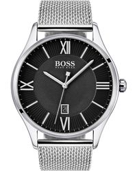 BOSS - Two-tier Black Dial Watch With Mesh Bracelet - Lyst