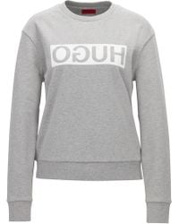 HUGO - Relaxed-fit Cotton Sweater With Reverse Logo - Lyst