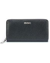 HUGO - Zip-around Wallet In Tumbled Italian Leather - Lyst