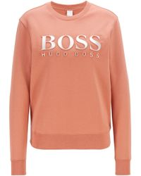 abc45b76f396 BOSS - Cotton Terry Sweatshirt With Three-dimensional Metallic Logo - Lyst