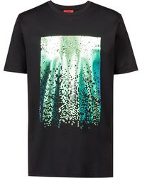 HUGO - Crew-neck T-shirt In Cotton With Abstract Print - Lyst