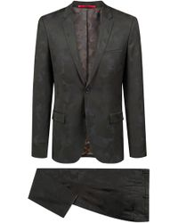 HUGO - Extra-slim-fit Suit In Camouflage Wool-blend Jacquard - Lyst