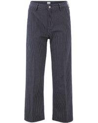 BOSS - Cropped Jeans In Pinstripe Italian Denim With Wide Leg - Lyst