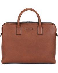 BOSS - Double Document Case In Grainy Italian Leather - Lyst