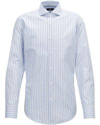 BOSS - Slim-fit Shirt In Three-colored Gingham Check Pattern - Lyst