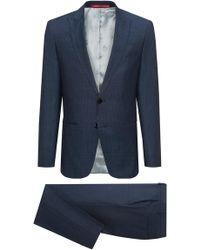 HUGO - Slim-fit Virgin Wool Serge Suit With Peak Lapels - Lyst