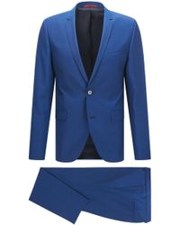 HUGO - Extra-slim-fit Virgin Wool Suit With A Lustrous Finish - Lyst