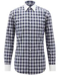 BOSS - Slim-fit Shirt In Vichy Check Cotton Poplin - Lyst