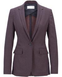 BOSS - Long-length Blazer In Micro-dot Stretch Fabric - Lyst