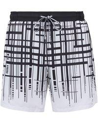 BOSS - Quick-dry Swim Shorts With Dégradé Check Print - Lyst