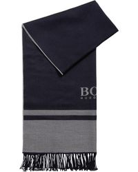 BOSS - Tailored Italian-made Scarf In Virgin Wool With Logo - Lyst