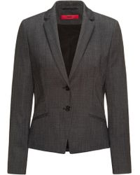 HUGO - Regular-fit Suit Jacket In Structured Stretch Wool - Lyst
