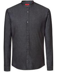 HUGO - Extra-slim-fit Shirt In Indigo-washed Italian Denim - Lyst