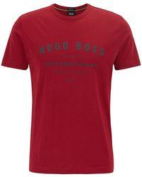 BOSS - Crew-neck T-shirt In Cotton With Metallic Artwork - Lyst