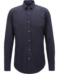 BOSS - Slim-fit Shirt In Italian-made Cotton Poplin - Lyst