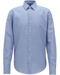 BOSS - Regular-fit Cotton Shirt With Two-tone Micro Structure - Lyst