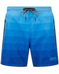 BOSS - Quick-dry Swim Shorts With Dégradé Print And Zipped Pockets - Lyst