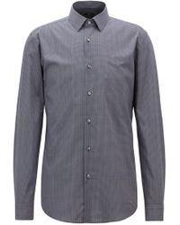 BOSS - Slim-fit Shirt In Italian Cotton With Rhombus Print - Lyst