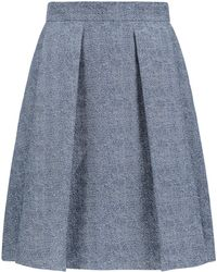 HUGO - Printed Skirt In Cotton Blended With Linen - Lyst