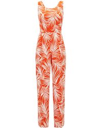 BOSS - Lightweight Jumpsuit With Leaf Print And Cutaway Back - Lyst